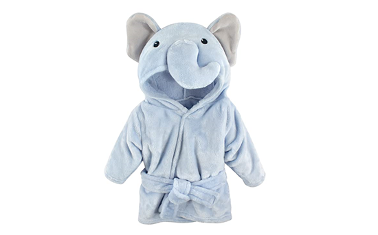 Picture of HUDSON BABY UNISEX BABY PLUSH ABUNAK FACE R0BE, BLUE ELEPHANT