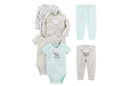 Picture of SIMPLE JOYS BY CARTER'S BABY 6-PIECE BODYSUITS (SHORT AND LONG SLEEVE) AND PANTS SET