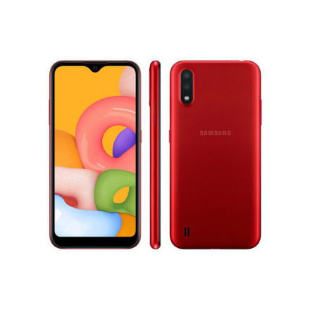 "Smartphone Samsung Galaxy A01 32GB Vermelho - 2GB RAM Tela 5,7"" Câm. Dupla + Câm. Selfie 5MP - Galaxy A01"