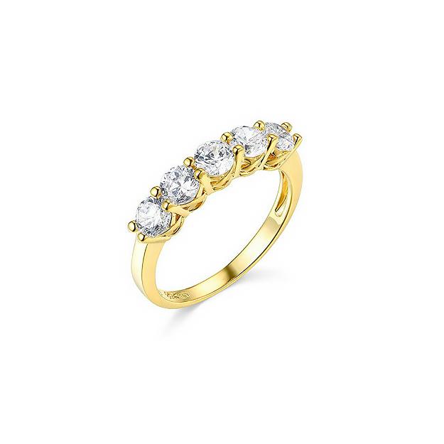 Picture of 2.50 Ct Round Corte Real Ouro Amarelo 14k 5-Stone Aniversário de casamento banda Anel
